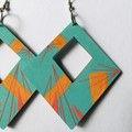 .Hand Painted Wooden Turquoise Red Geometric Statement Boho Earrings