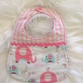 Decorative feeding bib, elephant print, baby girl gift,