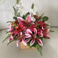 Pink Stargazer Lilly Faux Flower Box