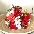 Christmas Red Faux Flower Table Centrepieve