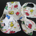 Snoopy and some of the Peanuts gang - Bibs, Burp Cloth and Teether