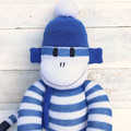 'Henry' the Sock Monkey - blue and white stripes - *READY TO POST*