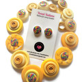 Yellow button necklace with matching stud earrings - Yellow Swirls