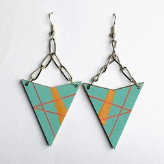 Hand Painted Wooden Turquoise Red Triangle Geometric  Earrings