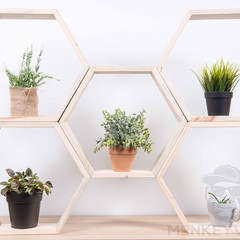 Hexagon Floating Shelf, Geometric set of 6, stackable shelves, Display
