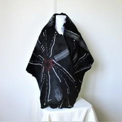 Felted Scarf Wool Silk Black Beads