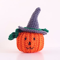 Halloween pumpkin in witch hat decoration