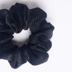 Velvet Cord Scrunchie - Black - Scrunchy