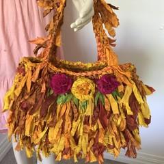 recycled silk bag, boho hand bag, crocheted silk bag, grey pink bag