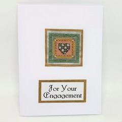 Engagement Card - Cross stitched heart Quilt Square