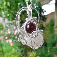Twin Quartz crystals Garnet pendant, Sterling silver wire wrapped