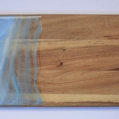 Acacia wood resin ice blue cheeseboard