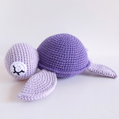 Sea turtle, Crochet purple soft toy turtle, Sea theme room decor