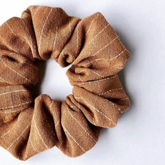 Linen Blend Scrunchie - Tan Stripe - Scrunchy