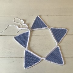 Blue and White Crocheted Bunting