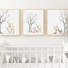 "WOODLAND FRIENDS TRIO SET  Art Print Set 8x10"" size"