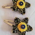 Reserved for Naomi - pair of fabric flower hair snap clips