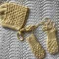 Hand knitted bonnet and mitten set