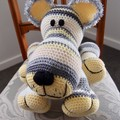 Conrad: hand crocheted Lion cub by CuddleCorner: OOAK, white/yellow/grey