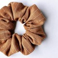 Linen Blend Scrunchie - Tan Stripe - Scrunchy