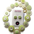 Green and white button necklace and matching stud earrings - Apple Blossom