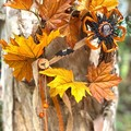 Halloween Grapevine Wreath Maple Leaf Bat Autumn Floral Wall Decoration