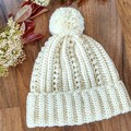 Adult Ladies Cream Crocheted Beanie with Pompom