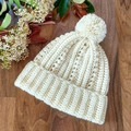 Cream Ladies Crocheted Beanie with Pompom