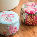 #1 floral tin soy candle -small