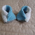 New born :Baby booties/slippers in blues by  CuddleCorner