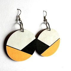 Hand Painted Wooden Circle Black White Yellow Geometric Statement Earrings