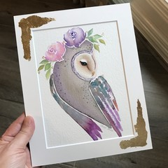 "SALE Original Watercolour ""Bronze Owl"""