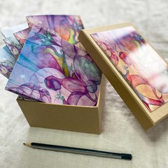 'Masquerade' set of 6 artwork cards in a gift box