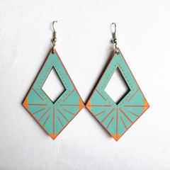 Hand Painted Wooden Turquoise Red Diamond Geometric  Earrings