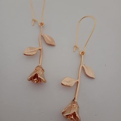 Gold rose charm earrings