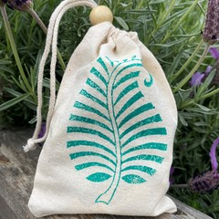 Block stamped pouch | Fern leaf