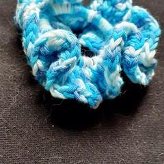 Blue ruffle scrunchie