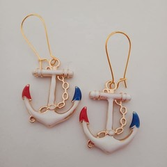 Gold red white and blue anchor charm dangle earrings
