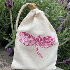 Block stamped pouch | Dragonfly