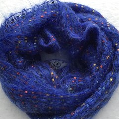 Woman's Handwoven Scarf, Lightweight, Mohair/Synthetic Blend, Blue