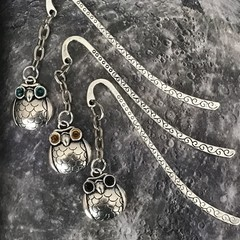 Tibetan Silver Bookmark with Owl with Swarovski® crystal eyes.