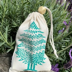 Block printed pouch | Christmas tree