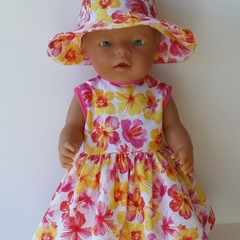 Dolls clothes a  Dress and Hat for Baby Born Doll 48cm