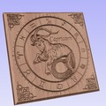 Capricorn Carved Wooden Wall Clock