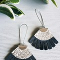 Fringed, Gunmetal Black & Silver Snakeskin, Genuine Leather Earrings