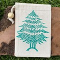 Block printed pouch   Christmas tree