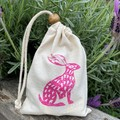 Block printed pouch | Rabbit