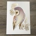 SALE Original Watercolour Art Barn Owl