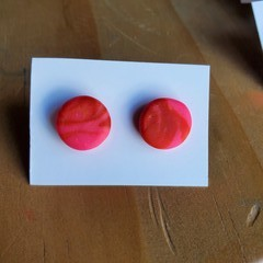 Colourful earring studs - Round J