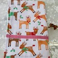 Christmas Reindeers Tea Towel/ Hand towel - terry towelling backed cotton drill.